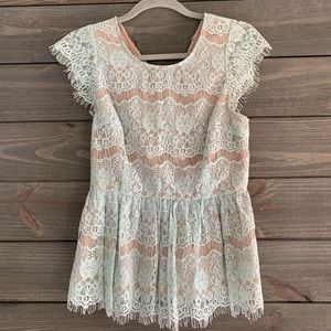 Anthropologie Maeve Blue Lace Blouse